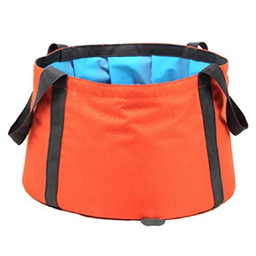 TRIWONDER Cubo de Agua Plegable Portátil 10L Lavabo Picnic Ligero para Camping Viaje al Aire Libre (Naranja)