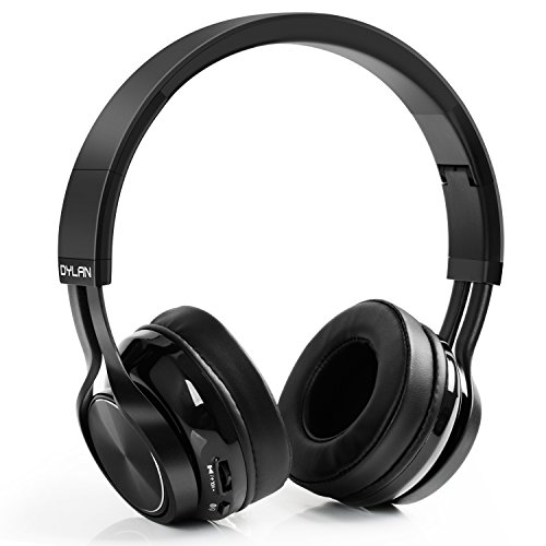 Dylan Bluetooth 4.1 Headphones Wireless Foldable Over-Ear Headphones with HiFi Stereo Built-in Mic 3.5mm Audio Jack for iPhone, Samsung, Android Phones & Tablets, Black