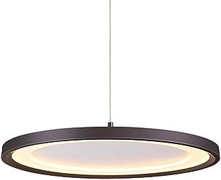 Lámpara colgante LED redonda Lámpara techo círculo de comedor nórdico aluminio y acrílico Lámpara colgante de techo de luz cálida Lámpara de metal moderna y moderna Dormitorio (Black,D 60CM)