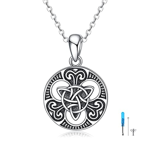 YAFEINI Celtic Knot Urn Necklace for Ashes Sterling Silver Viking Necklace for Men Cremation Jewelry Keepsake Pendant Necklace
