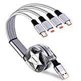 Amuvec 4 en 1 Multi Cable de Carga, Retráctil Multi USB Cargador Cable Múltiples Micro USB Tipo C 2 IP para Phone 11 X 8 Android Samsung Galaxy S9 S8 S7 A5 Huawei P30 P20 Xiaomi Honor Kindle LG Sony
