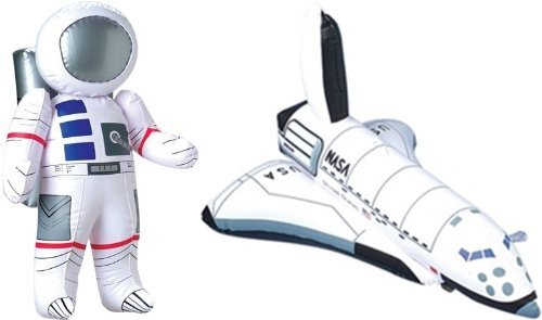 Inflatable 23 Astronaut and 17 Space Shuttle - 2 Pc Set - Space Party Toys and Decorations by happy deals