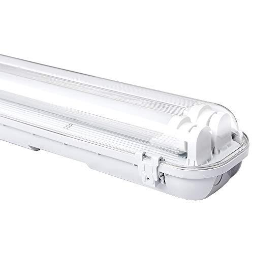 Hengda LED Feuchtraumleuchte Wannenleuchte 150 CM Werkstattleuchte 2x 24W Weiß G13 T8 Lampe LED Röhre Werkstatt Deckenleuchte Leuchtstoff Röhren
