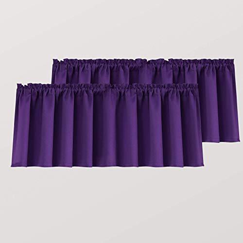 Royal Purple Valances for Windows 2 Pack 18 Inch Length Pole Pocket Light Blocking Blackout Window Valance for Living Room Bathroom Dark Purple