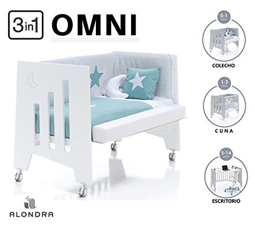 ALONDRA - Cuna bebé de COLECHO (3en1) OMNI Blanco 120x60 convertible en 3 etapas: cuna, colecho y escritorio, con 5 alturas de somier y ruedas C181-M7700, pack OMNI-K10