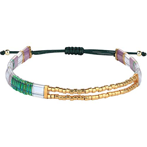 C·QUAN CHI Pulsera de la Amistad para Mujer TILA Beads Stretch Bracelet Hecho a Mano Colorido Miyuki Beaded Bracelets Bangle Joyería de Moda Wrap Pulseras para Regalos de cumpleaños