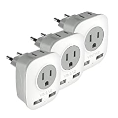 4-IN-1 EU POWER ADAPTER-- The European travel plug adapter turns one European Type C socket into 2 standard American outlets & 2 USB charging ports, Max Capacity Up to 3750 Watt (max 250 Volt, 15 A); 2 USB Ports can charge up to 2.4A, allowing you ch...