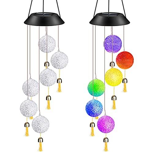 IWILCS Campanas de Viento solares, Campanas de Viento LED con Campanas, Campanas de Viento LED Cambio de Color Carillón luz Que Cambia de Color Luz Solar para Jardín