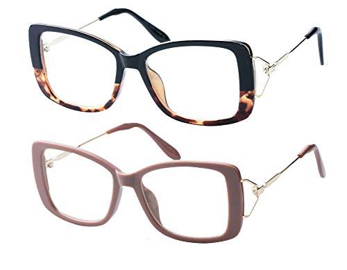 SOOLALA Ladies Lightweight Large Frame Eyeglass Fashion Reading Glass, LeoKhaki, 2.25