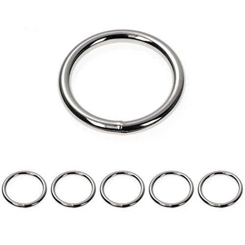 Ganzoo O - Ring Stahl, 5 Stück, 40mm außen, geschweißt Nicht-rostend, für Paracord 550