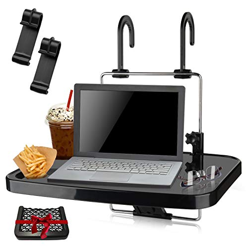 NestEcho Steering Wheel Desk 2 in 1 Foldable Car Steering Wheel Tray/Car Back Seat Headrest Tray for Food Eating Drinking Writing Notebook Cup Holder and Laptop Work