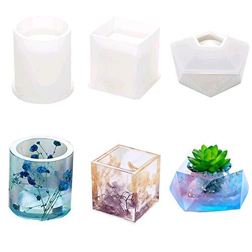 Moldes de silicona de resina, Velidy DIY para manualidades, incluye moldes redondos y cuadrados, 3 paquetes (redondo+cuadrado + diamante)