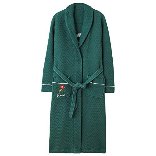 Camisón de invierno para mujer, de otoño, invierno, cálido, para mujer, de algodón, con capa intermedia, para uso doméstico, toalla de baño (color: verde, tamaño: XL)