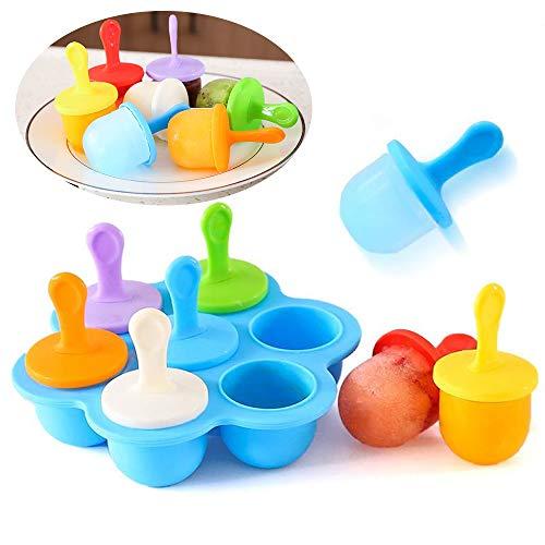 tingz 7 PCS Mini Molde de paletas de Silicona, moldes de Helado Ice Pop Stick Ice Cream Lolly Maker Tool Set, bandejas de Cubitos de Hielo antiadherentes (Azul)