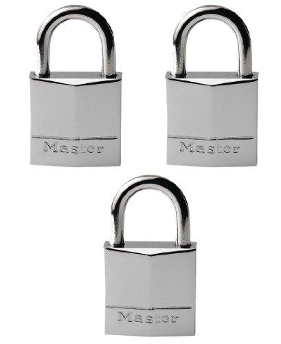 Master Lock 639EURTRI 3 lucchetti Ottone Massiccio Cromato 30mm con Arco Inox 17mm Apertura a Chiave Unica, Set di 3 Pezzi