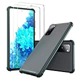 YEHUA Designed for Samsung Galaxy S20 FE 5G Case, S20 Fan Edition, S20 Lite Case [1 Case+2 Screen Protectors] Slim Translucent Matte PC with Soft Edges, Shockproof and Protective Phone Cover (Green)