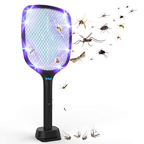 2 in 1 Electric Fly Swatter & Mosquito Killer Lamp with 4000V Effective Powerful Grid, Rechargeable Bug Zapper for Home, Camping, Indoor/Outdoor Pest Control, with Double Safety Mesh, LED Light Black