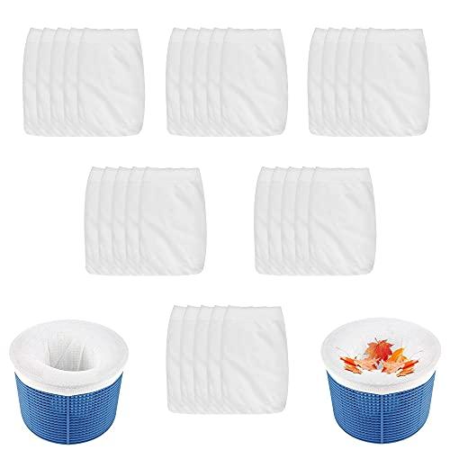 FIGFYOU 30 Pack Pool Skimmer Sokken, Super Elastische Pool Filter Saver Sokken Netto Pool Filter Sokken Nylon Stof…