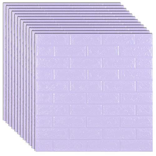 10pcs Brick Foam Panels,3D Wall Stickers Self-Adhesive,Embossed Stone Wallpaper Home Decor-Light Purple
