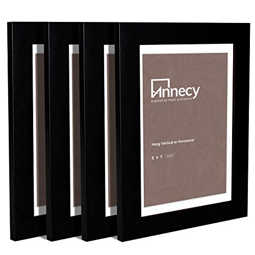 Annecy 5x7 Picture Frame (4 Pack, Black) - Made of Solid Wood 5x7 Photo Frames with Real Glass for 4x6 with Mat...