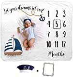 Baby Monthly Milestone Blanket | Includes Sailor Hat and Picture Frame | 1 to 12 Months | Premium Extra Soft Fleece | Best Photography Backdrop Prop for Newborn Boy & Girl
