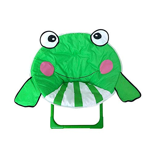 Iwinna Kids Folding Chair Cartoon Frog Moon Chair for Home Outdoor Beach Camping Chair Recliner for Baby (Frog)