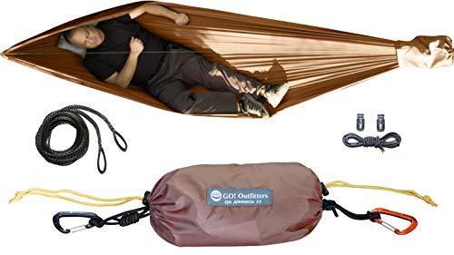 Go Hammock 2.0-11' Long for Max Comfort, w/Ridgeline, Rapid Deployment Bag, Carabiners & Fabric Tensioners (Coyote Brown)