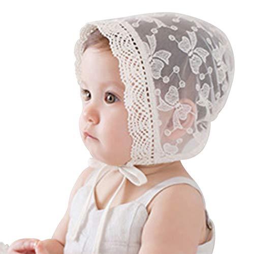 Fashband Neugeborenes Baby Mädchen Bogen Hut Baby Bonnets Lace Silk Ribbon Einstellbare Kappe Atmungsaktiv Sonnenschutz Hut
