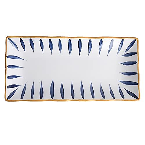 Plato De Cena De Cerámica Del Restaurante Sashimi Aperitivo Bandeja De Sushi Patrón Pintado A Mano Vidriado Antideslizante Y Resistente Al Desgaste Bordes Ondulados Irregulares