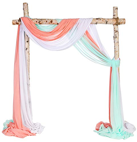 SHERWAY 3 Panels Chiffon Fabric Drapery Wedding Arch Drapes, Party Backdrop Curtain Panels, Ceremony Reception Swag Decoration (27 x 216 Inch, Coral & White & Mint)