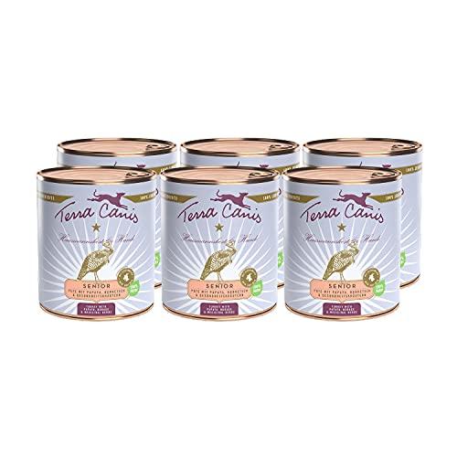 Terra Canis Tacchino, papaia, borragine & erbe salutari - Alimento umido Senior, 6x800g I Alimento premium per cani con ingredienti di autentica qualità human-grade al 100% I ipoallergenico