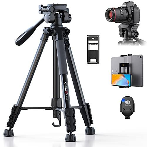 KINGJOY Kamera Stativ 152 cm Aluminium Lightweight Stativ Tragfähigkeit 5KG für Canon Nikon DSLR Smartphone Tablet mit Bluetooth Fernbedienung Handyhalter und Tragetasche