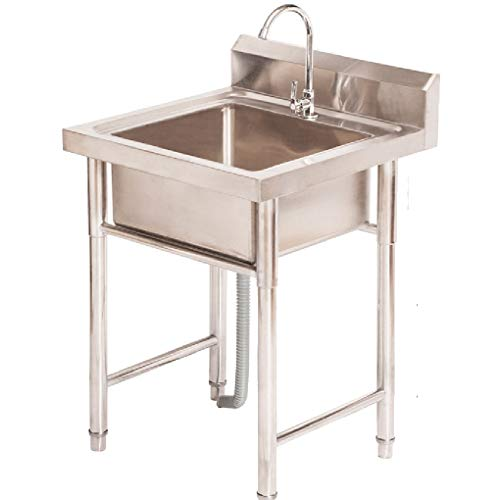 WenFei shop Simple Commercial Sink,Stainless Steel Kitchen Prep & Utility Sink with Faucet & Bracket,Kitchen Single Sink Dish Washing Basin,Easy to Clean & Install