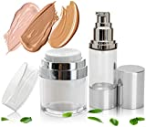 Best Empty Airless Pump Container Set (1 oz & 1.7 oz) - Cosmetic Dispenser Bottles for Face Serums & Creams - Lightweight Leak Proof & Shockproof Container. BPA Free & TSA Travel Size