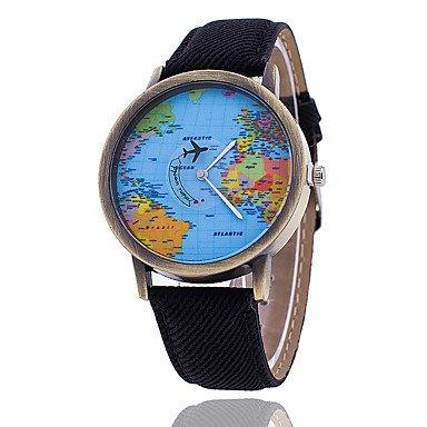 Schöne Uhren, Herren Armbanduhr Quartz Armbanduhren für den Alltag Stoff Band Weltkarte Muster Schwarz Weiß Schwarz Gelb Rot Grün Blau ( Farbe : Schwarz , Großauswahl : Einheitsgröße )