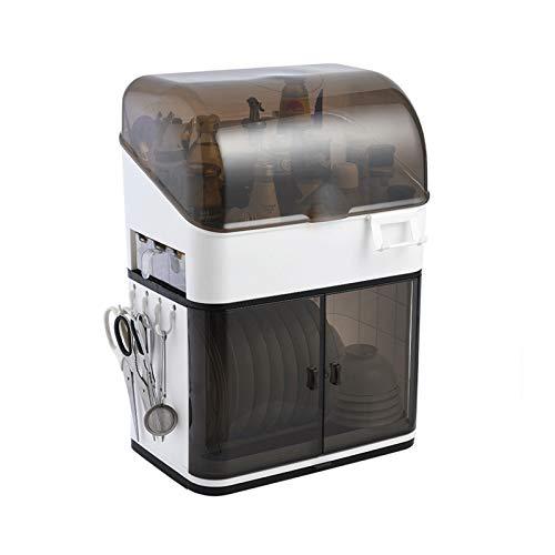 GAONAN Caja de almacenamiento de vajillas de tipo de gabinete, bastidor de drenaje de platos de cocina, caja de almacenamiento de vajillas para el hogar plato de plato de plástico con tablero de drena