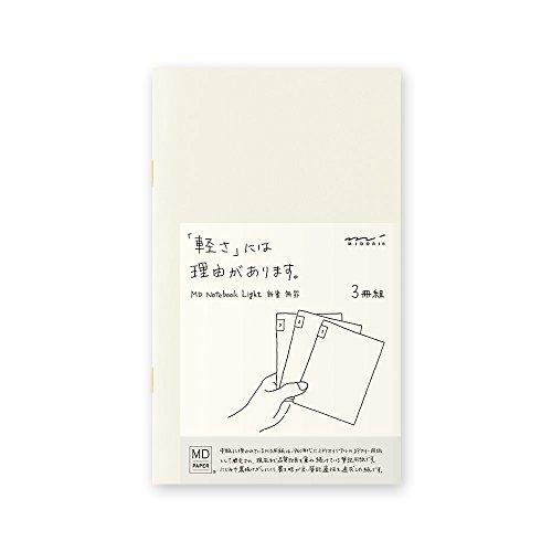 Midori MD Notebook Light B6 Slim (blanko), 3 Stück pro Packung