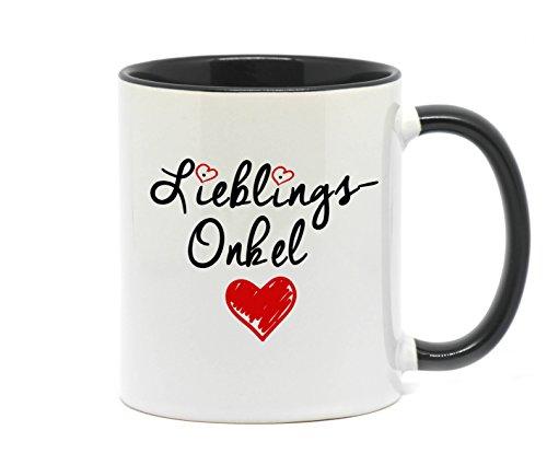 Nice-Presents-de <> Tasse Lieblings Onkel in hochwertiger Qualität, beidseitig Bedruckt. Eine schöne Art etwas zu Sagen. EIN tolles Geschenk für den Lieblingsonkel z.B. als Dankeschön. (Schwarz)