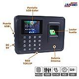 JANDEI - Control De Acceso Para Empleados Mediante Huella Dactilar. Software Incluido. Descarga De Datos Mediante Memoria USB/Red IP. No Borra Datos Al Quedarse Sin Corriente.