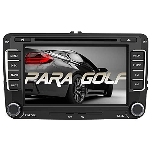 AWESAFE Radio Coche con Pantalla Táctil 2 DIN para VW Golf, Autoradio 7 Pulgadas con Bluetooth/GPS/FM/RDS/CD DVD/USB/SD, Apoyo Mandos Volante, Mirrorlink y Navegador GPS