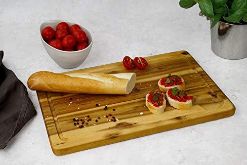 Fackelmann Schneidebrett Akazie, Küchenbrett aus Natur-Holz als Frühstücksbrett verwendbar - 2