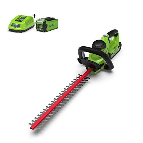 Greenworks Tools Akku-Heckenschere G40HT61K2 (Li-Ion 40 V 61 cm Schnittlänge 19mm Zahnabstand 3000 Schnitte/min verstellbarere Zusatzhandgriff inklusive 2Ah Akku und Ladegerät)