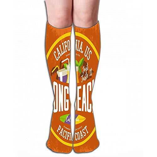Zome Lag nieuw katoen knie high fun sokken 50 cm voor vrouwen afdrukken surfplank cocktails palmen dranken stro Long Beach Californië