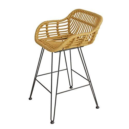 ZTMN Taburetes de Bar de Mimbre Tejido Silla con sillón de Interior/Exterior Respaldo Reposapiés Reposabrazos Balcón Silla de Ocio Bar Pub Comedor Sillas de café Taburete de 75 cm
