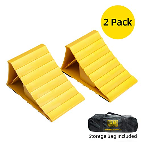 """LEAD BRAND Wheel Chocks Non Slip Base, Ideal Chocks for Helping You Park Your Car、Truck 、SUV、RV、Trailer and Keep Them in Place, 2 Pack,Dimensions:8"""" x 4.7"""" x 4.1"""""""
