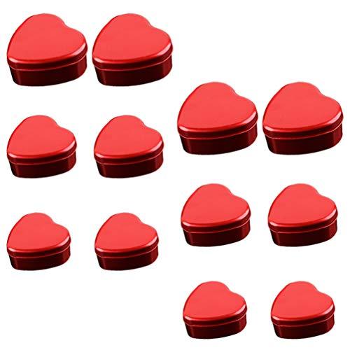 DOITOOL 12Pcs Latas Vazias de Metal Formato De Coração Caixa de Doces Caixas de Chocolate Presente de Doces Caixa de Lata Latas Recipientes Com Tampa para Nupcial Do Casamento Caixas Do