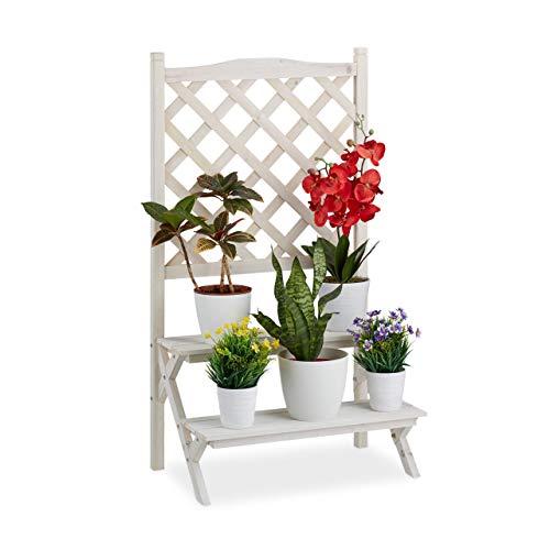 Relaxdays Soporte Plantas con Enrejado para Trepadoras, 2 Escalones Estantería Flores, Madera 109 x 61 x 39 cm Blanco