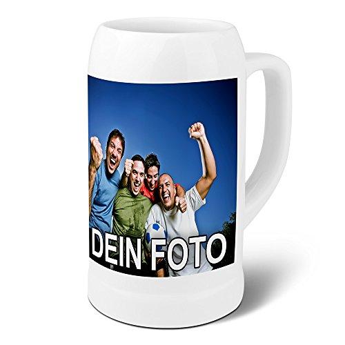 PhotoFancy® - Bierkrug mit Foto Bedrucken - Krug Personalisieren - Humpen mit eigenem Motiv selbst gestalten (Maßkrug 1 L)