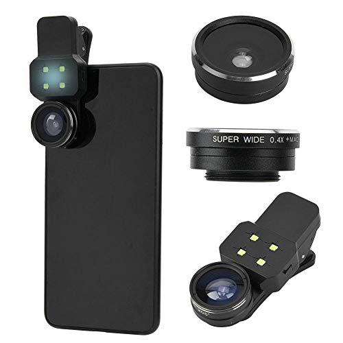 4-in-1 fotografie objectiefkit, Fisheye lens 198° + 0,65 as groothoeklens + 15x macroobjectief + 4 parels zeer heldere instelbare LED met dubbele helderheid vullicht set voor telefoontablet