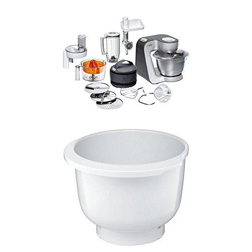Bosch MUM56340 Küchenmaschine Styline + MUZ5KR1 Kunststoff-Rührschüssel für Küchenmaschine Mum5